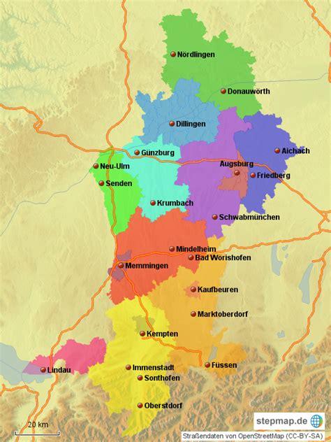 stepmap schwaben landkarte fuer deutschland