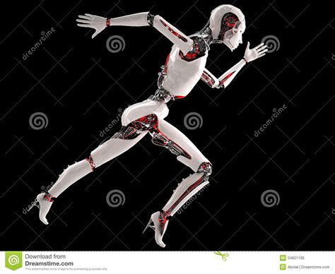 android running robot android running royalty free stock image