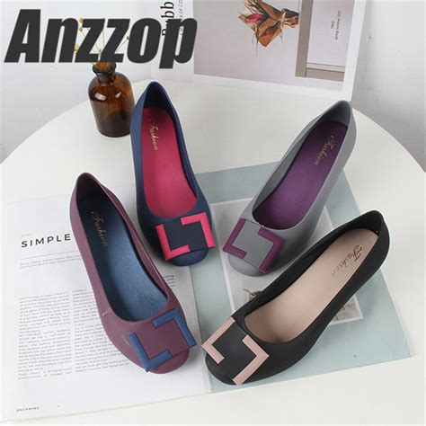 anzzop 2019 jelly shoes s fashion sandals wedge with baotou square buckle waterproof non