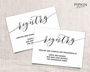 Printable wedding registry card wedding info card for Wedding invitation include registry