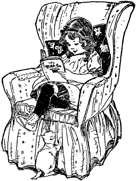 girl reading book  chair clipart