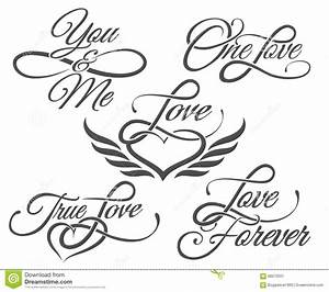 Love Lettering In Tattoo Style Stock Vector Illustration of design, decoration: 66570551