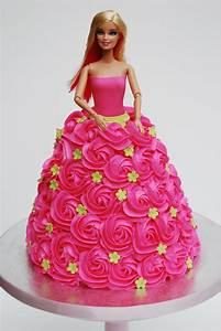 pink rosette barbie cake sweetworldofcakes With gateau robe barbie