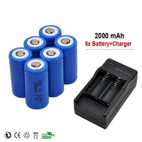Best Rechargeable Cr123a Lithium Batteries by 6 X 2000mah 3 7v Cr123a 16340 Li Ion Rechargeable Battery