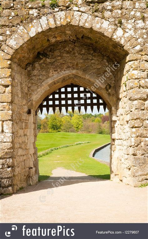 architectural details medieval gate stock picture