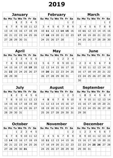 calendar template  landscape format printable