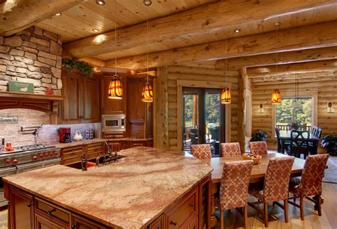 modern log cabin home kitchen interior thebestwoodfurniturecom