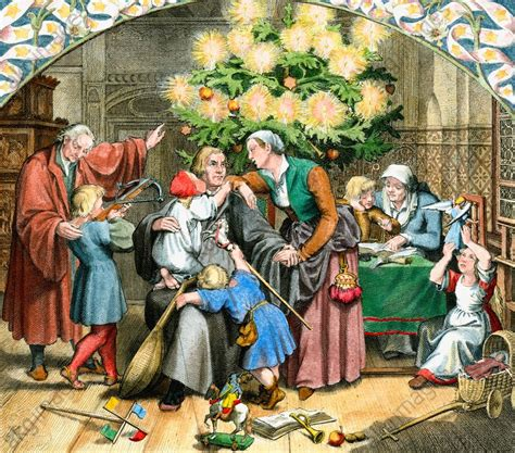 luthers christmas tree akg images luther s winterfreuden im kreise seiner familie