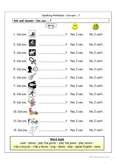 Speaking Worksheet  Can You? Worksheet  Free Esl Printable Worksheets Made By Teachers