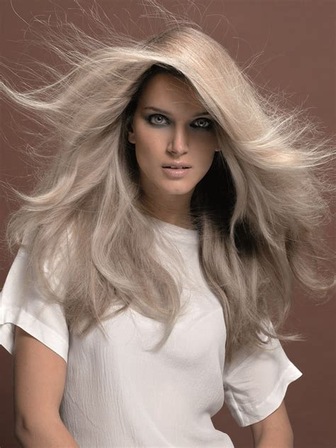 Blond E Hair And by Mid Back Platinum Hair With Large Layers