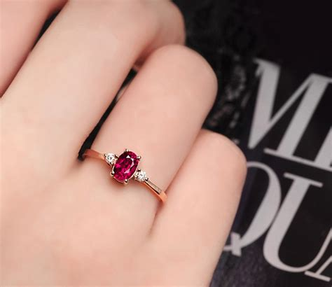 carat trilogy ruby  diamond engagement ring  rose gold jeenjewels