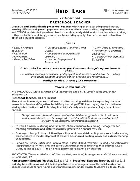 Resume Profile For Preschool by Preschool Resume Sle