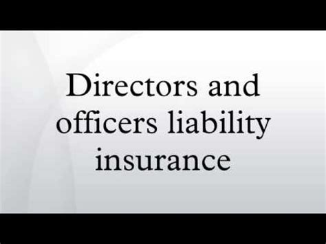 Directors And Officers Liability Insurance Youtube