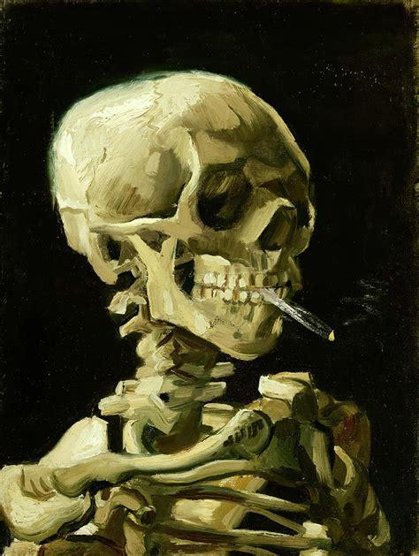 skull   skeleton  burning cigarette smoking skull