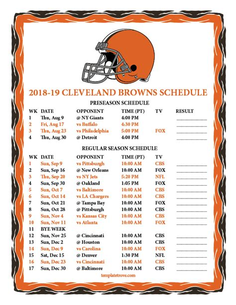 printable cleveland browns schedule