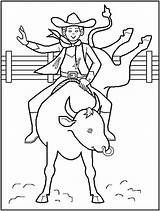 Coloring Pages Cowboy Printable Rodeo sketch template