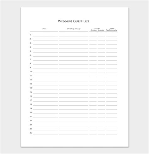 guest list templates wedding party  word
