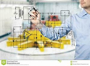 Electrical Engineer Draws A Diagram Of A Circuit Stock