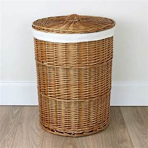 Round, Natural, Wicker, Laundry, Basket