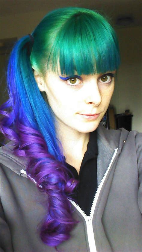 Pretty Green Blue And Purple Ponytail With Bangs Hair