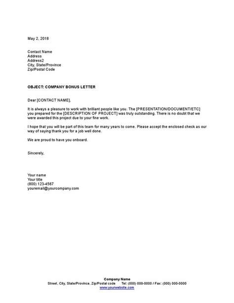 Company Bonus Letter | Cissap Business & Legal Documents