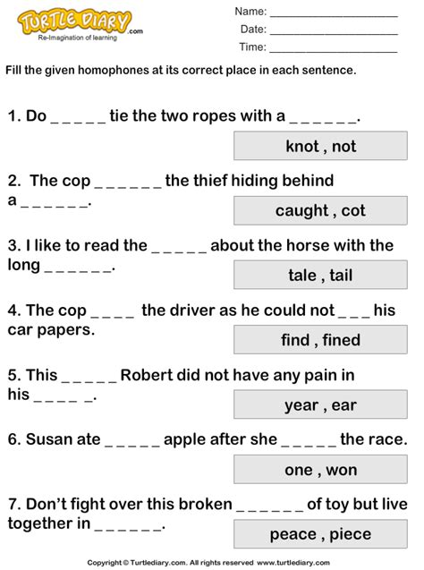 writing correct homophones worksheet turtle diary