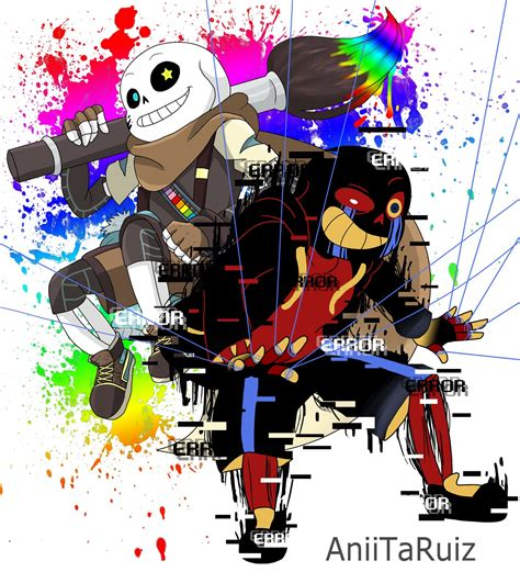 He exists out of them but can interact with them. Ink Sans X Error Sans by AniiTaRuiz on DeviantArt