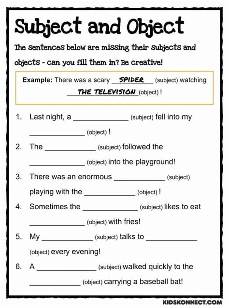 subject object study worksheet common core
