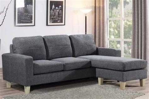 L Shaped Bed Settee by Admaston Charoal Grey Fabric Compact 3 Seater L Shaped