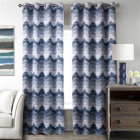 blue  white wave polyester print striped modern chevron