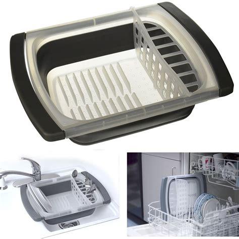 sink dish drainer collapsible folding rack kitchen storage plate holder ebay
