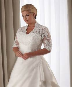 lace covered shoulders 1 2 length sleeve back lace up plus With lace plus size wedding dress
