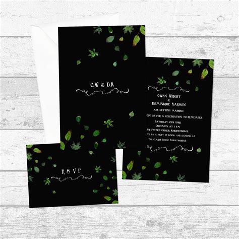 Black Green Leaf Botanical Personalised Invitation Set