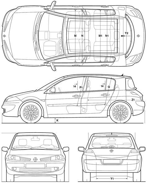2005 renault megane hatchback blueprints free outlines