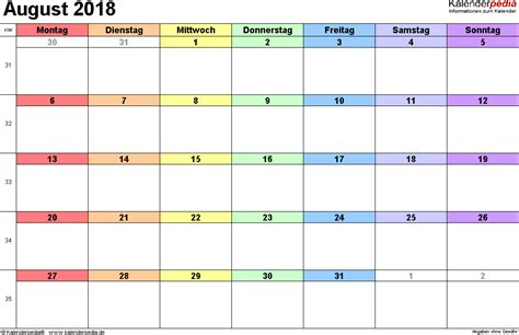kalender august als excel vorlagen