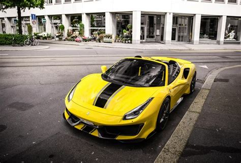 The ferrari 488 pista is powered by the most powerful v8 engine in the maranello marque's history and is the company's special series sports car with the highest level yet of technological transfer from. Spotted: Finally the first yellow Ferrari 488 Pista