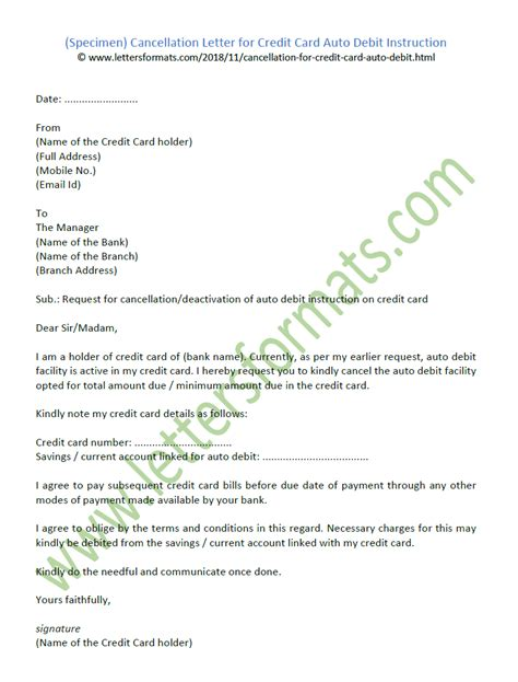 Maybe you would like to learn more about one of these? Cancellation Letter for Credit Card Auto Debit Instruction Sample