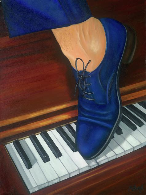 blue suede shoes painting by marlyn boyd