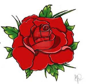 American Traditional Rose Tattoo Flash