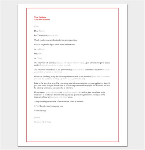 interview appointment letter  samples  word  format