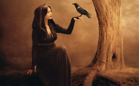 wallpaper beautiful fantasy girl raven tree witch