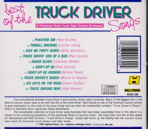 Country songs about trucks are also usually a ton of fun. The Best of the Truck Driving Songs - Various Artists ...