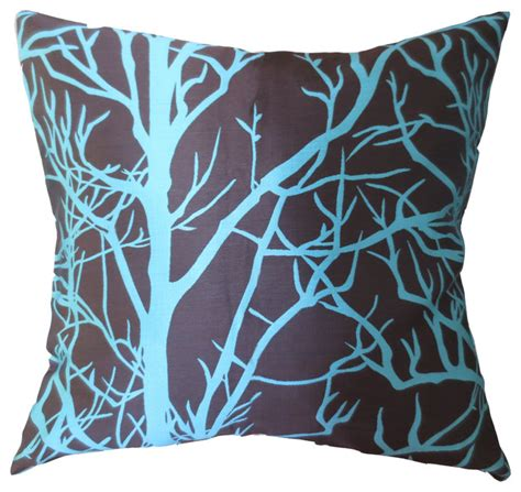 Contemporary Decorative Pillows by Elleweideco Modern Tree Branch Throw Pillow Cover Brown