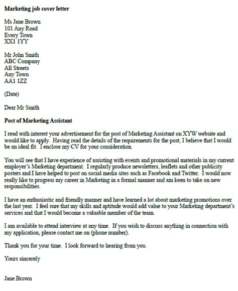 marketing cover letter exle in cover letters page