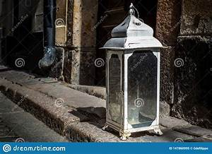 An, Old, Vintage, Lantern, With, Candle, At, The, Entrance, Of, A, House, In, Stockholm, Stock, Image