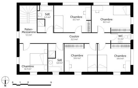 plan chambre plan maison en u 6 chambres