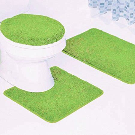 pc  lime green solid plain bathroom bath mat set