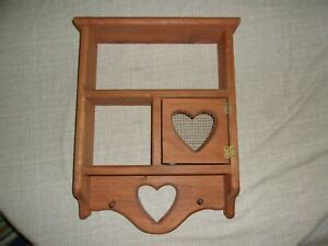 vtg wood wall hanging shelf hearts plate rack top hinged wire door country style ebay