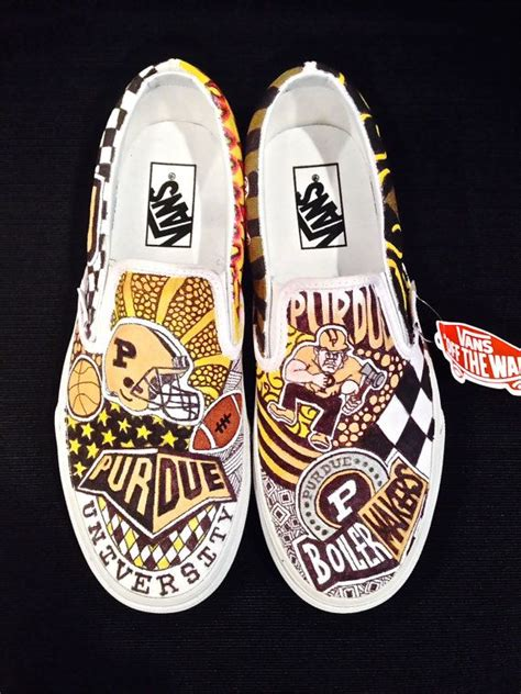 customized college slip  vans college shoes aesthetic