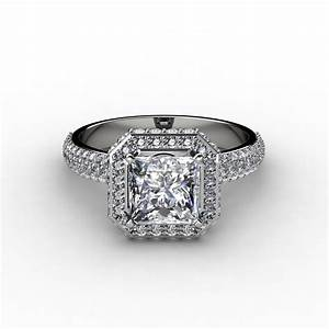 pave halo princess cut diamond engagement ring With halo wedding ring